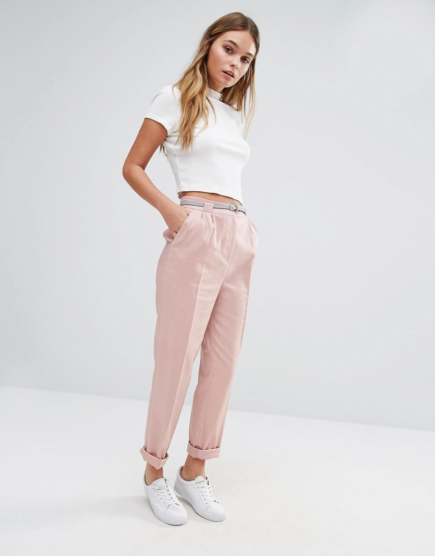 Belted Peg Trousers Pink - pattern: plain; style: peg leg; waist: high rise; predominant colour: pink; occasions: casual, creative work; length: ankle length; fibres: cotton - 100%; jeans & bottoms detail: turn ups; texture group: cotton feel fabrics; fit: tapered; pattern type: fabric; season: a/w 2016