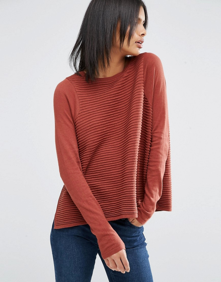 Ripple Stitch Jumper Tobacco - neckline: round neck; pattern: plain; style: standard; predominant colour: bright orange; occasions: casual, creative work; length: standard; fibres: cotton - 100%; fit: loose; sleeve length: long sleeve; sleeve style: standard; texture group: knits/crochet; pattern type: knitted - fine stitch; season: a/w 2016; wardrobe: highlight