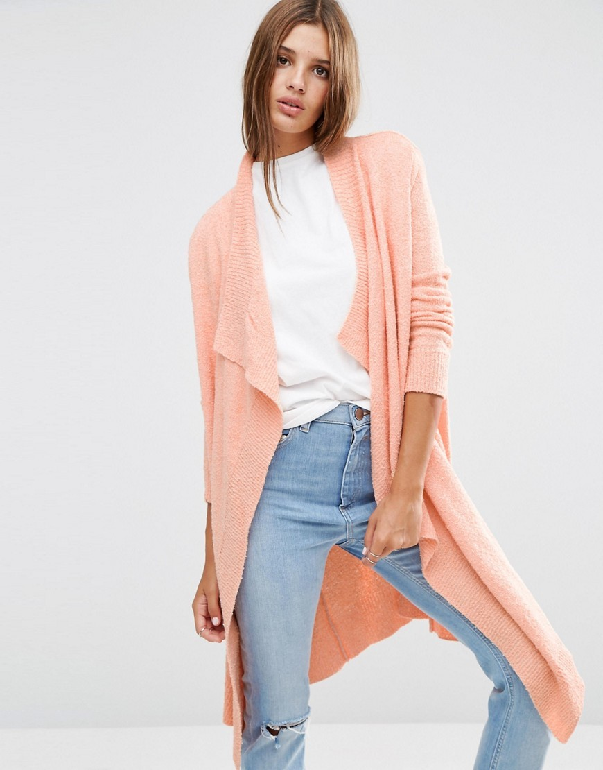 Cardigan In Popcorn Yarn Blush - pattern: plain; neckline: waterfall neck; style: open front; length: below the knee; predominant colour: coral; occasions: casual; fibres: acrylic - mix; fit: loose; sleeve length: long sleeve; sleeve style: standard; texture group: knits/crochet; pattern type: fabric; season: a/w 2016; wardrobe: highlight