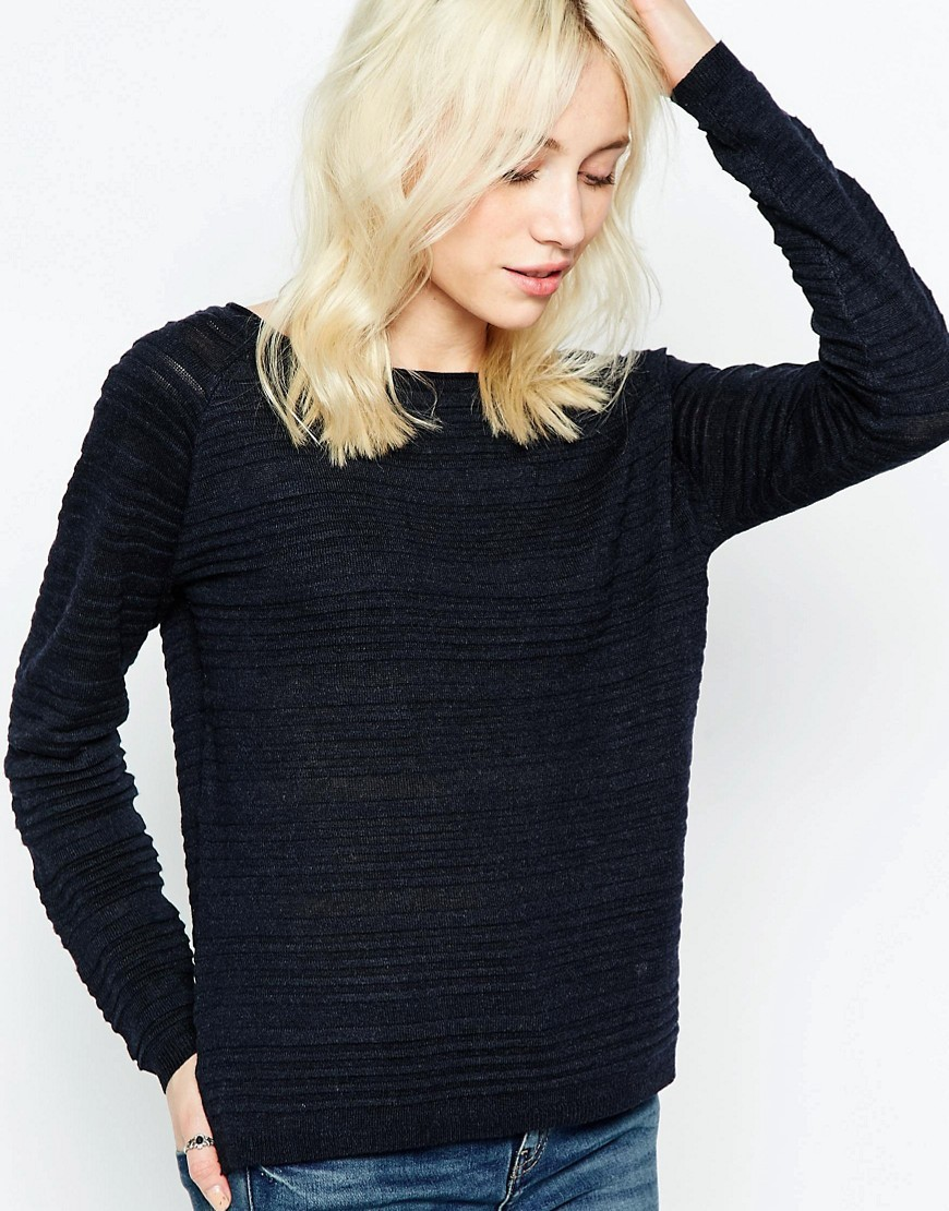 Textured Ribbed Jumper Night Sky - neckline: round neck; pattern: plain; style: standard; predominant colour: black; occasions: casual, work, creative work; length: standard; fibres: polyester/polyamide - mix; fit: standard fit; sleeve length: long sleeve; sleeve style: standard; texture group: knits/crochet; pattern type: knitted - fine stitch; wardrobe: basic; season: a/w 2016