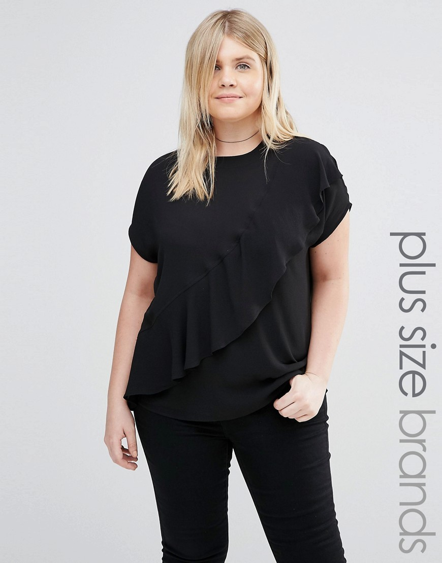 Frill Detail Woven Top Black - pattern: plain; style: t-shirt; predominant colour: black; occasions: casual, creative work; length: standard; fibres: polyester/polyamide - 100%; fit: loose; neckline: crew; sleeve length: short sleeve; sleeve style: standard; texture group: crepes; bust detail: tiers/frills/bulky drapes/pleats; pattern type: fabric; season: a/w 2016