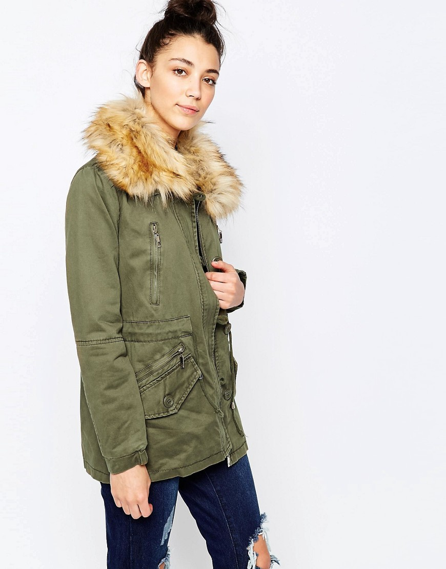 Parka With Faux Fur Hood Khaki - pattern: plain; length: below the bottom; fit: loose; style: parka; predominant colour: khaki; occasions: casual; fibres: polyester/polyamide - 100%; sleeve length: long sleeve; sleeve style: standard; texture group: technical outdoor fabrics; collar: fur; collar break: high; pattern type: fabric; embellishment: fur; season: a/w 2016; wardrobe: highlight