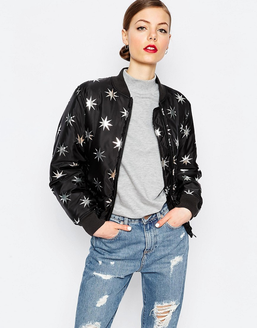 Metallic Star Bomber Jacket Bk1 - collar: round collar/collarless; fit: loose; style: bomber; secondary colour: silver; predominant colour: black; occasions: casual; length: standard; fibres: polyester/polyamide - 100%; sleeve length: long sleeve; sleeve style: standard; collar break: high; pattern type: fabric; pattern: patterned/print; texture group: other - light to midweight; multicoloured: multicoloured; season: a/w 2016