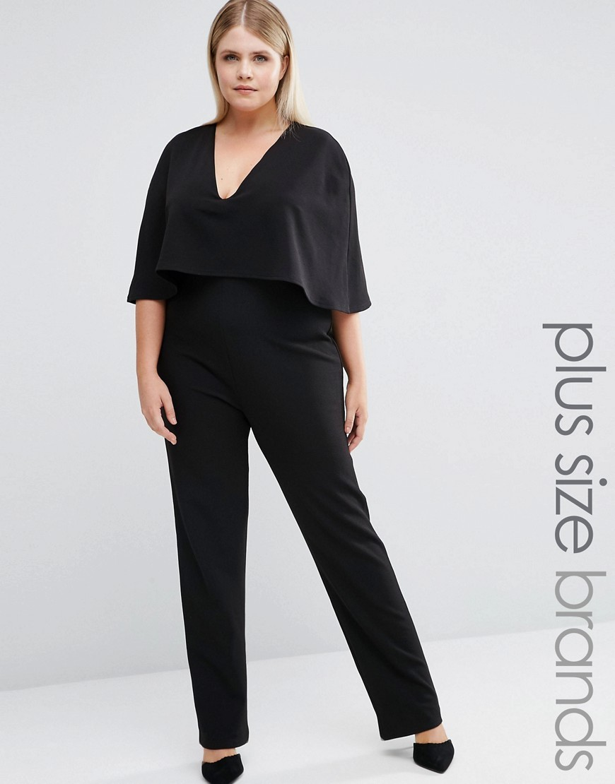 Plus Jumpsuit With Cape Overlay Black - length: standard; neckline: v-neck; sleeve style: dolman/batwing; pattern: plain; bust detail: ruching/gathering/draping/layers/pintuck pleats at bust; predominant colour: black; occasions: evening; fit: body skimming; fibres: polyester/polyamide - stretch; sleeve length: half sleeve; style: jumpsuit; pattern type: fabric; texture group: jersey - stretchy/drapey; season: a/w 2016