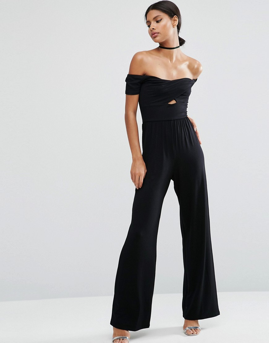 Jersey Jumpsuit With Wrap Bardot And Twist With Wide Leg Black - length: standard; neckline: off the shoulder; sleeve style: capped; pattern: plain; predominant colour: black; occasions: evening; fit: body skimming; fibres: polyester/polyamide - 100%; waist detail: cut out detail; sleeve length: short sleeve; style: jumpsuit; pattern type: fabric; texture group: jersey - stretchy/drapey; season: a/w 2016; wardrobe: event