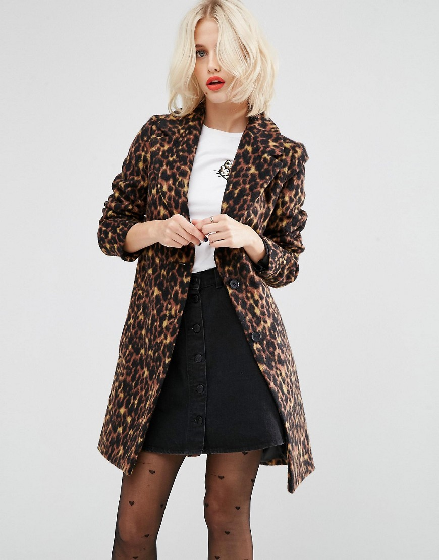 Slim Coat In Leopard Print Multi - style: single breasted; fit: slim fit; collar: standard lapel/rever collar; length: mid thigh; predominant colour: chocolate brown; secondary colour: camel; occasions: casual; fibres: wool - mix; sleeve length: long sleeve; sleeve style: standard; collar break: low/open; pattern type: fabric; pattern: animal print; texture group: woven light midweight; multicoloured: multicoloured; season: a/w 2016; wardrobe: highlight