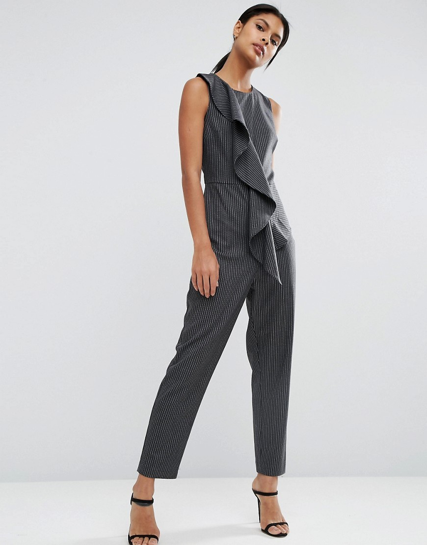 Pinstripe Ruffle Jumpsuit Mono - length: standard; pattern: plain; sleeve style: sleeveless; predominant colour: charcoal; occasions: evening; fit: body skimming; fibres: polyester/polyamide - stretch; neckline: crew; sleeve length: sleeveless; style: jumpsuit; bust detail: bulky details at bust; pattern type: fabric; texture group: jersey - stretchy/drapey; season: a/w 2016; wardrobe: event