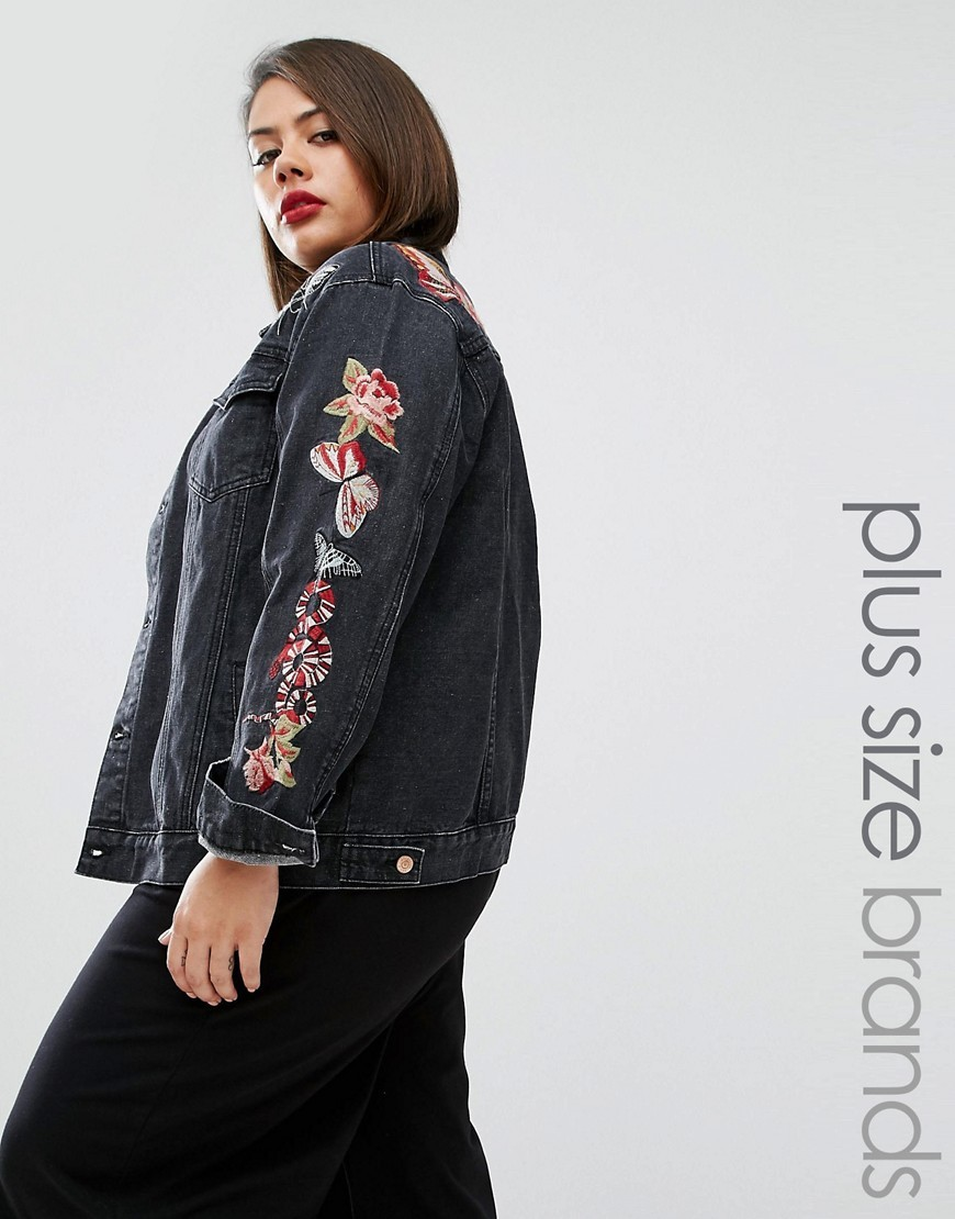 Embroidered Denim Jacket Black - fit: loose; style: denim; secondary colour: hot pink; predominant colour: black; occasions: casual; length: standard; fibres: cotton - 100%; collar: shirt collar/peter pan/zip with opening; sleeve length: long sleeve; sleeve style: standard; texture group: denim; collar break: high; pattern type: fabric; pattern: florals; embellishment: embroidered; multicoloured: multicoloured; season: a/w 2016
