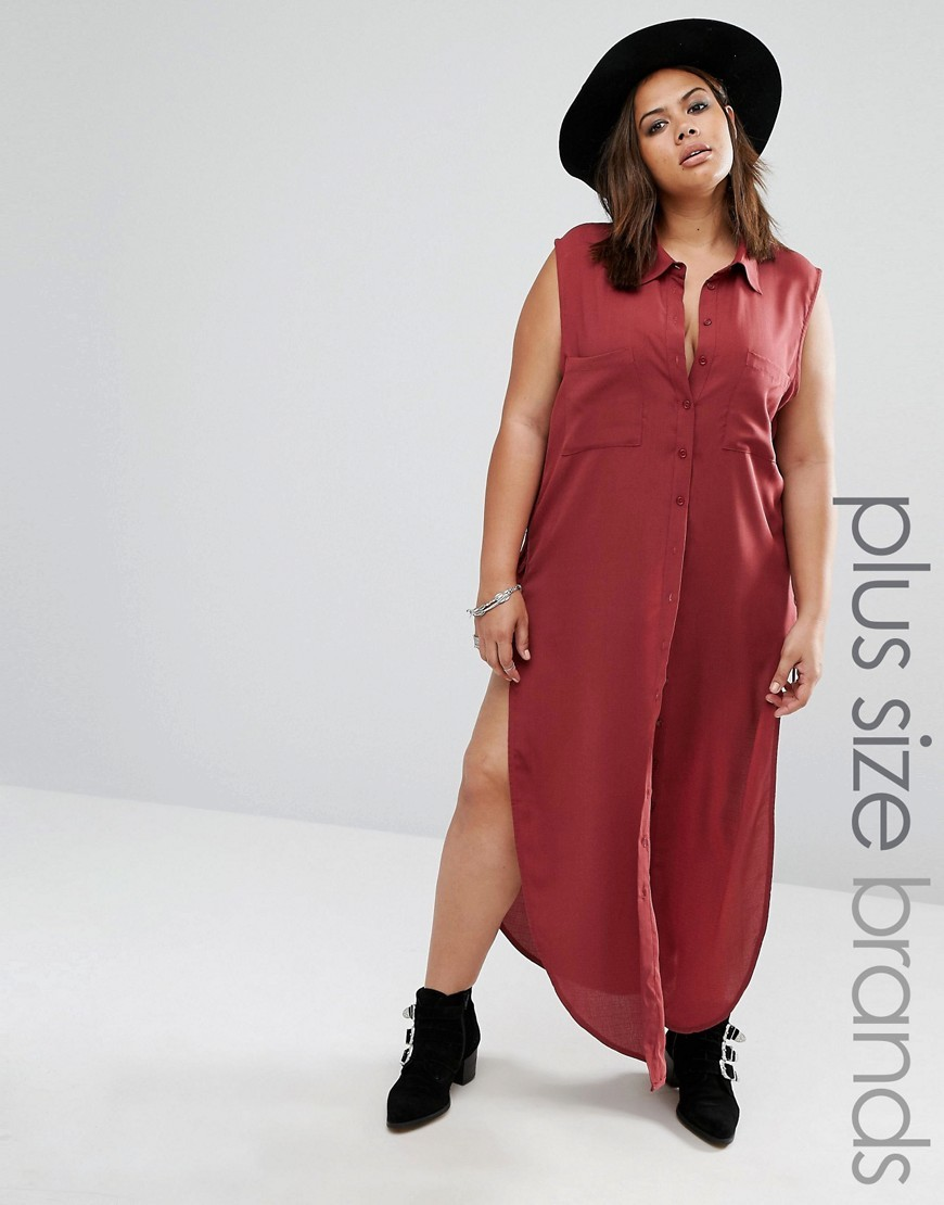 Sleeveless Longline Shirt With Lace Up Detail Burgundy - neckline: shirt collar/peter pan/zip with opening; pattern: plain; sleeve style: sleeveless; length: below the bottom; style: shirt; predominant colour: white; occasions: casual; fibres: polyester/polyamide - 100%; fit: body skimming; sleeve length: sleeveless; texture group: cotton feel fabrics; pattern type: fabric; pattern size: standard; wardrobe: basic; season: a/w 2016
