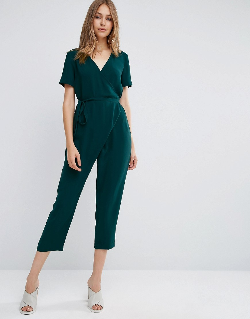 Jumpsuit With Wrap And Self Tie Green - neckline: v-neck; pattern: plain; predominant colour: dark green; occasions: evening; length: calf length; fit: body skimming; fibres: polyester/polyamide - 100%; sleeve length: short sleeve; sleeve style: standard; style: jumpsuit; pattern type: fabric; texture group: jersey - stretchy/drapey; season: a/w 2016; wardrobe: event