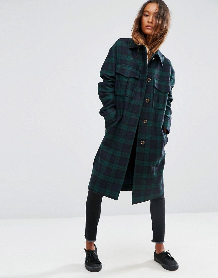 Coat In Check With Utility Styling Multi - pattern: checked/gingham; style: single breasted; fit: slim fit; secondary colour: navy; predominant colour: dark green; occasions: casual; fibres: wool - mix; length: below the knee; collar: shirt collar/peter pan/zip with opening; sleeve length: long sleeve; sleeve style: standard; collar break: high; pattern type: fabric; texture group: woven bulky/heavy; multicoloured: multicoloured; season: a/w 2016; wardrobe: highlight