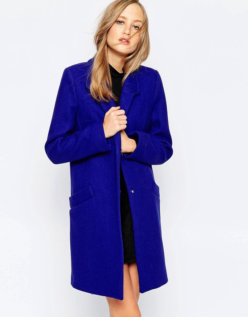 Jackson Coat Prince Rocks - pattern: plain; collar: funnel; style: single breasted; length: on the knee; predominant colour: royal blue; occasions: work, creative work; fit: tailored/fitted; fibres: wool - mix; sleeve length: long sleeve; sleeve style: standard; collar break: high; pattern type: fabric; texture group: woven bulky/heavy; season: a/w 2016; wardrobe: highlight