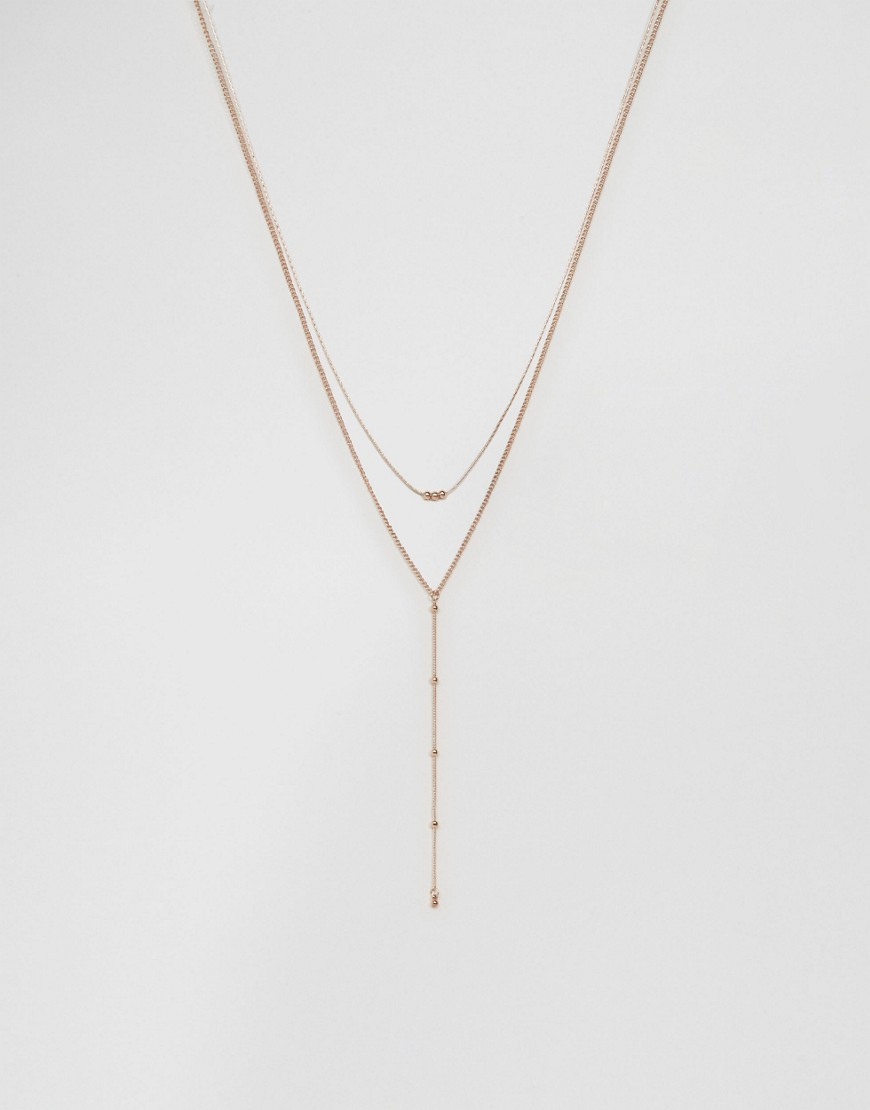 Ball Chain Multirow Necklace Rose Gold - predominant colour: gold; occasions: casual, creative work; style: multistrand; length: long; size: small/fine; material: chain/metal; finish: metallic; season: a/w 2016; wardrobe: highlight