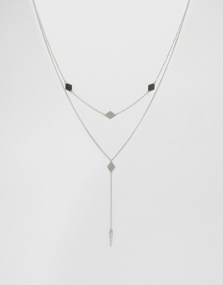 Diamond & Spike Multirow Necklace Rhodium - predominant colour: silver; occasions: casual, creative work; style: multistrand; length: short; size: small/fine; material: chain/metal; finish: plain; embellishment: jewels/stone; season: a/w 2016