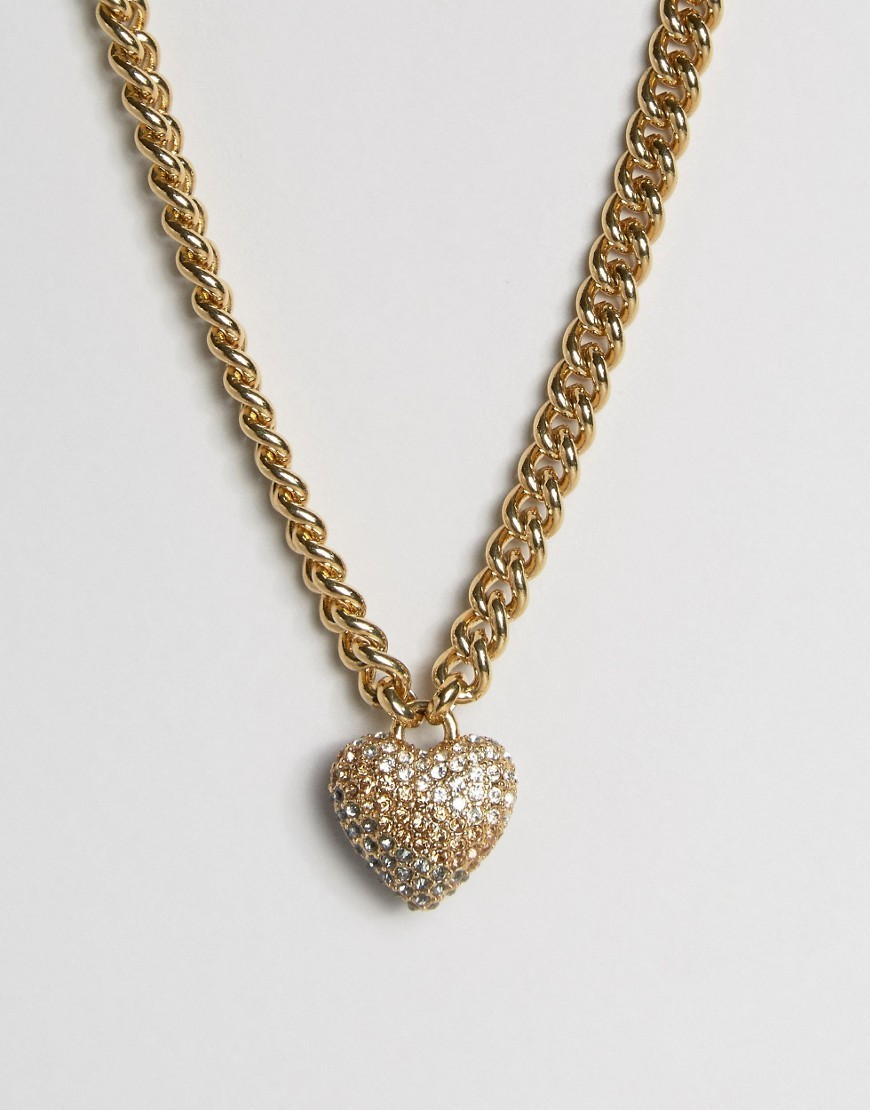Champagne Ombre Heart & Chain Necklace Champagne - predominant colour: gold; occasions: evening, occasion; style: pendant; length: mid; size: large/oversized; material: chain/metal; finish: metallic; season: a/w 2016; wardrobe: event