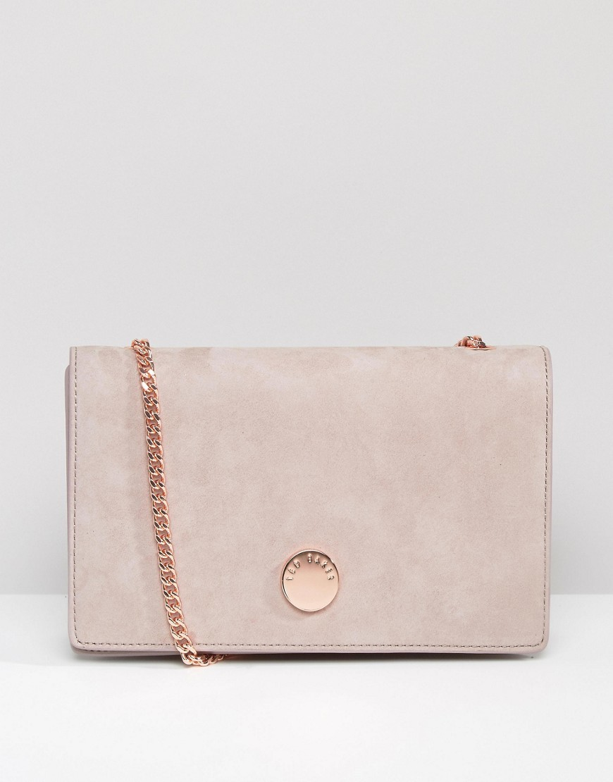 Suede Foldover Cross Body Bag Mid Purple - predominant colour: blush; occasions: casual, creative work; type of pattern: standard; style: shoulder; length: across body/long; size: standard; material: suede; pattern: plain; finish: plain; embellishment: chain/metal; wardrobe: investment; season: a/w 2016