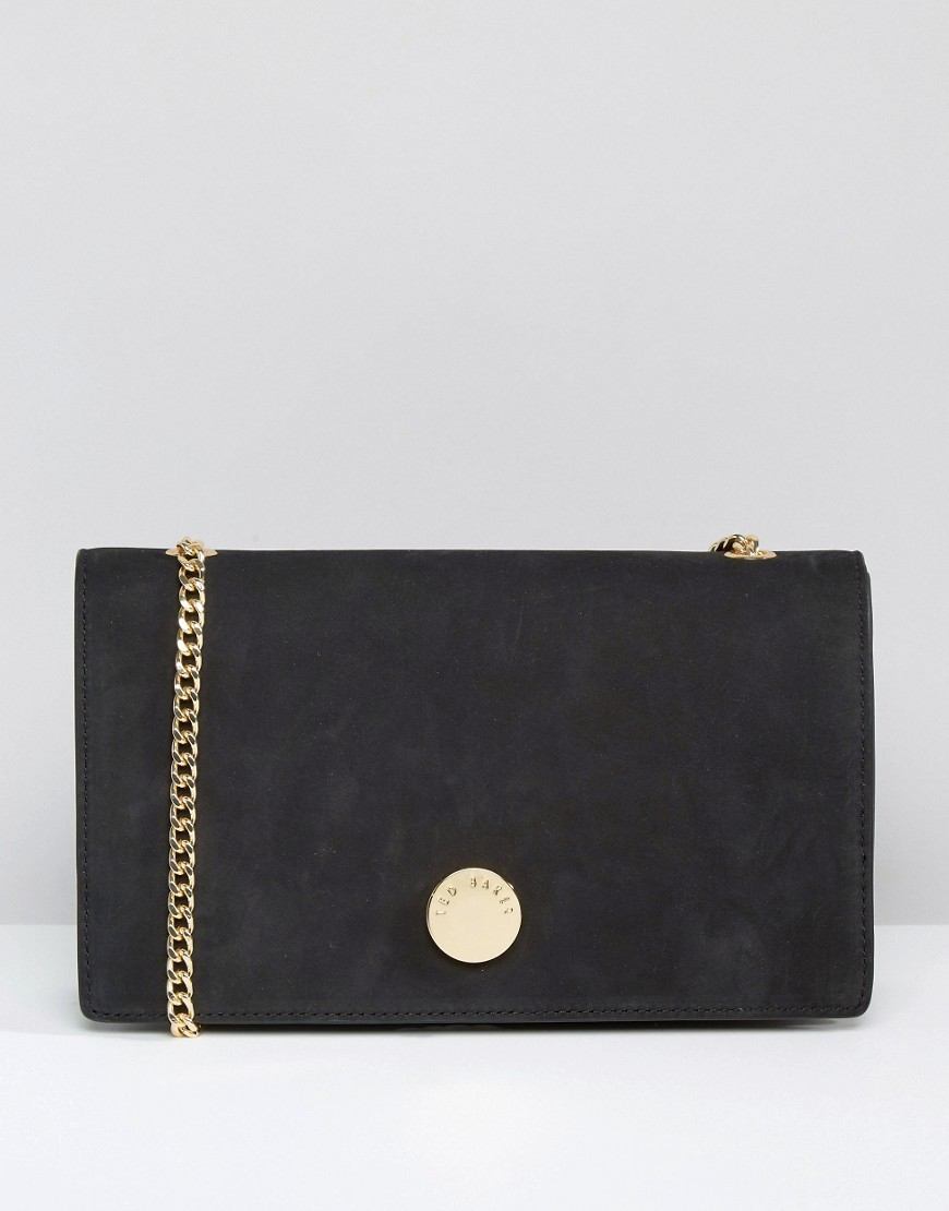 Suede Foldover Cross Body Bag Black - secondary colour: gold; predominant colour: black; occasions: casual, evening, creative work; type of pattern: standard; style: shoulder; length: across body/long; size: standard; material: suede; pattern: plain; finish: plain; embellishment: chain/metal; wardrobe: investment; season: a/w 2016
