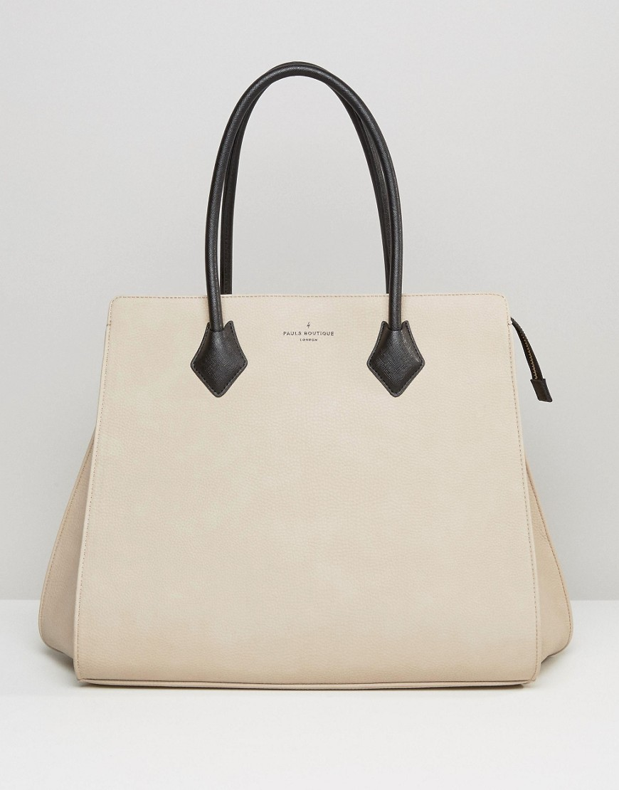 Pauls Boutique Coco Structured Tote In Nude Nude - predominant colour: ivory/cream; secondary colour: black; occasions: casual, creative work; type of pattern: standard; style: tote; length: handle; size: standard; material: faux leather; pattern: plain; finish: plain; wardrobe: investment; season: a/w 2016