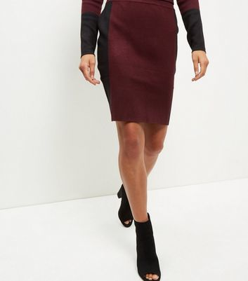 Burgundy Contrast Stripe Midi Skirt - pattern: plain; style: pencil; fit: tailored/fitted; waist: high rise; predominant colour: burgundy; secondary colour: black; occasions: work; length: just above the knee; pattern type: fabric; texture group: woven light midweight; fibres: viscose/rayon - mix; season: a/w 2016; wardrobe: highlight