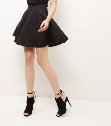 Black Sheer Ribbed Skater Skirt - length: mini; pattern: plain; style: full/prom skirt; fit: loose/voluminous; waist: high rise; predominant colour: black; occasions: evening, occasion; fibres: polyester/polyamide - stretch; hip detail: soft pleats at hip/draping at hip/flared at hip; pattern type: fabric; texture group: woven light midweight; season: a/w 2016; wardrobe: event