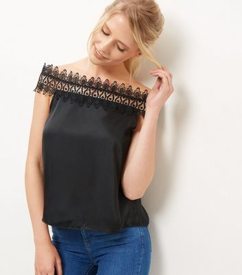 Black Sateen Lace Trim Bardot Neck Top - neckline: off the shoulder; sleeve style: capped; pattern: plain; predominant colour: black; occasions: evening; length: standard; style: top; fibres: polyester/polyamide - 100%; fit: body skimming; sleeve length: short sleeve; texture group: structured shiny - satin/tafetta/silk etc.; pattern type: fabric; embellishment: lace; season: a/w 2016; wardrobe: event