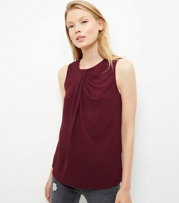 Burgundy Pleated Neck Sleeveless Top - pattern: plain; sleeve style: sleeveless; predominant colour: burgundy; occasions: casual; length: standard; style: top; fibres: polyester/polyamide - mix; fit: body skimming; neckline: crew; sleeve length: sleeveless; pattern type: fabric; texture group: jersey - stretchy/drapey; season: a/w 2016; wardrobe: highlight