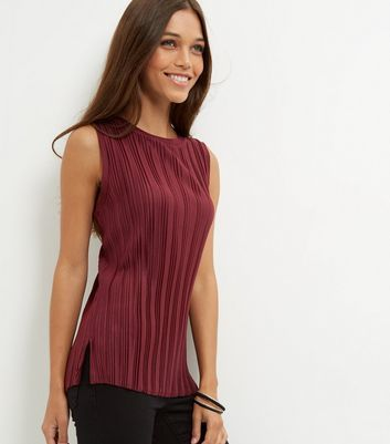 Burgundy Pleated Sleeveless Top - pattern: plain; sleeve style: sleeveless; predominant colour: burgundy; occasions: casual, creative work; length: standard; style: top; fibres: polyester/polyamide - 100%; fit: body skimming; neckline: crew; sleeve length: sleeveless; pattern type: fabric; texture group: jersey - stretchy/drapey; season: a/w 2016; wardrobe: highlight