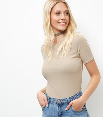 Stone Ribbed Crop Top - pattern: plain; length: cropped; predominant colour: stone; occasions: casual; style: top; fibres: polyester/polyamide - stretch; fit: body skimming; neckline: crew; sleeve length: short sleeve; sleeve style: standard; pattern type: fabric; texture group: jersey - stretchy/drapey; wardrobe: basic; season: a/w 2016