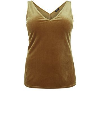 Curves Olive Green Velvet V Neck Vest - neckline: v-neck; pattern: plain; sleeve style: sleeveless; style: vest top; predominant colour: khaki; occasions: casual; length: standard; fibres: polyester/polyamide - stretch; fit: tight; sleeve length: sleeveless; pattern type: fabric; texture group: velvet/fabrics with pile; season: a/w 2016; wardrobe: highlight