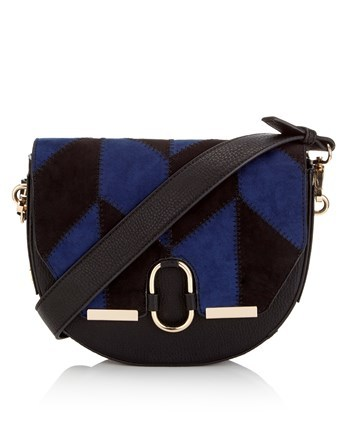 Patchwork Saddle Bag - secondary colour: royal blue; predominant colour: black; occasions: casual; type of pattern: standard; style: saddle; length: across body/long; size: small; material: fabric; finish: plain; pattern: patterned/print; multicoloured: multicoloured; season: a/w 2016; wardrobe: highlight