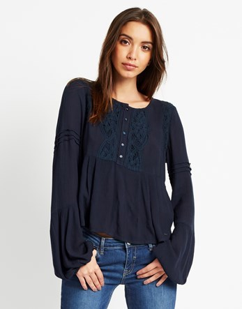Lace Blouse - pattern: plain; style: blouse; predominant colour: navy; occasions: casual; length: standard; fibres: viscose/rayon - 100%; fit: body skimming; neckline: crew; sleeve length: long sleeve; sleeve style: standard; texture group: lace; pattern type: fabric; season: a/w 2016; wardrobe: highlight