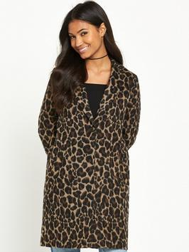Leopard Print Coat - collar: shawl/waterfall; fit: loose; style: single breasted; length: mid thigh; predominant colour: chocolate brown; occasions: casual, evening, creative work; fibres: acrylic - mix; sleeve length: long sleeve; sleeve style: standard; collar break: medium; pattern type: fabric; pattern: animal print; texture group: other - bulky/heavy; pattern size: big & busy (top); season: a/w 2016; wardrobe: highlight