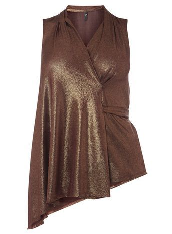 Bronze Hourglass Fit Wrap Top - neckline: v-neck; pattern: plain; sleeve style: sleeveless; style: wrap/faux wrap; predominant colour: bronze; occasions: evening; length: standard; fibres: polyester/polyamide - stretch; fit: body skimming; sleeve length: sleeveless; pattern type: fabric; texture group: jersey - stretchy/drapey; season: a/w 2016; wardrobe: event