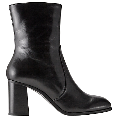 Aysha Block Heeled Ankle Boots - predominant colour: black; occasions: casual, creative work; material: leather; heel height: high; heel: block; toe: round toe; boot length: ankle boot; style: standard; finish: plain; pattern: plain; season: a/w 2016; wardrobe: highlight