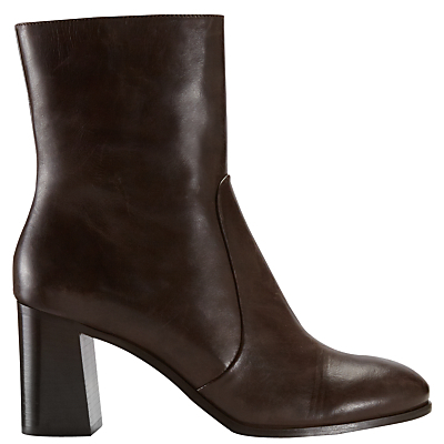 Aysha Block Heeled Ankle Boots - predominant colour: chocolate brown; occasions: casual, creative work; material: leather; heel height: high; heel: block; toe: round toe; boot length: ankle boot; style: standard; finish: plain; pattern: plain; season: a/w 2016; wardrobe: highlight