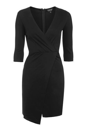 Petite Ponte Wrap Mini Dress. - style: faux wrap/wrap; neckline: low v-neck; fit: tailored/fitted; pattern: plain; predominant colour: black; occasions: evening, creative work; length: just above the knee; sleeve length: 3/4 length; sleeve style: standard; pattern type: fabric; texture group: jersey - stretchy/drapey; fibres: viscose/rayon - mix; trends: chic girl, glossy girl, rebel girl; wardrobe: investment; season: a/w 2016