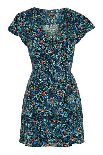 Petite Ditsy Floral Wrap Dress - style: faux wrap/wrap; length: mid thigh; neckline: v-neck; fit: tailored/fitted; predominant colour: navy; occasions: casual, creative work; fibres: polyester/polyamide - stretch; sleeve length: short sleeve; sleeve style: standard; pattern type: fabric; pattern: florals; texture group: other - light to midweight; multicoloured: multicoloured; trends: pretty girl; season: a/w 2016; wardrobe: highlight
