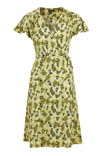 Petite Ditsy Floral Wrap Midi Dress - style: faux wrap/wrap; length: below the knee; neckline: low v-neck; sleeve style: angel/waterfall; predominant colour: yellow; occasions: casual, creative work; fit: fitted at waist & bust; fibres: polyester/polyamide - stretch; hip detail: soft pleats at hip/draping at hip/flared at hip; sleeve length: short sleeve; pattern type: fabric; pattern: florals; texture group: other - light to midweight; multicoloured: multicoloured; trends: pretty girl; season: a/w 2016