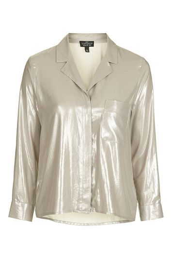 Tall Metallic Pyjama Shirt - neckline: shirt collar/peter pan/zip with opening; pattern: plain; style: shirt; predominant colour: gold; occasions: evening, occasion; length: standard; fibres: polyester/polyamide - 100%; fit: loose; sleeve length: long sleeve; sleeve style: standard; texture group: structured shiny - satin/tafetta/silk etc.; pattern type: fabric; season: a/w 2016; wardrobe: event