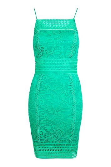 Tall Floral Crochet Lace Dress - style: shift; sleeve style: spaghetti straps; fit: tailored/fitted; predominant colour: emerald green; occasions: evening; length: just above the knee; sleeve length: sleeveless; texture group: knits/crochet; neckline: low square neck; pattern type: knitted - other; pattern: patterned/print; fibres: nylon - stretch; embellishment: lace; trends: glossy girl; season: a/w 2016
