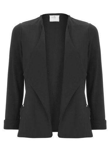 Petite Black Short Jacket - pattern: plain; style: single breasted blazer; collar: shawl/waterfall; predominant colour: black; occasions: work; length: standard; fit: tailored/fitted; fibres: polyester/polyamide - 100%; sleeve length: 3/4 length; sleeve style: standard; texture group: crepes; collar break: low/open; pattern type: fabric; wardrobe: investment; season: a/w 2016