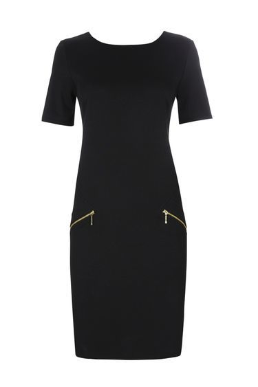 Black Zip Shift Dress - style: shift; neckline: round neck; pattern: plain; predominant colour: black; occasions: work, creative work; length: on the knee; fit: body skimming; fibres: polyester/polyamide - mix; sleeve length: short sleeve; sleeve style: standard; pattern type: fabric; texture group: jersey - stretchy/drapey; wardrobe: investment; season: a/w 2016