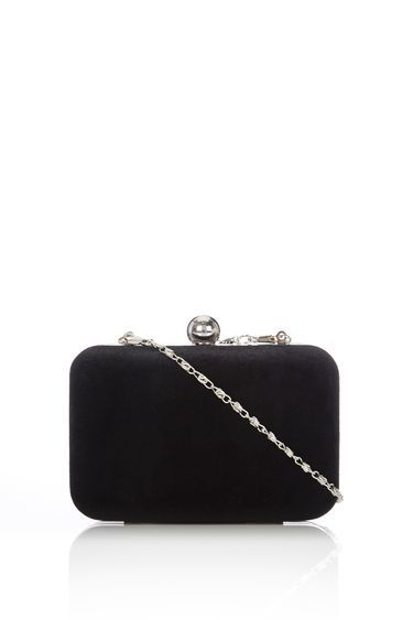 Black Velvet Box Clutch - predominant colour: black; occasions: evening, occasion; type of pattern: standard; style: clutch; length: hand carry; size: mini; material: fabric; pattern: plain; finish: plain; season: a/w 2016; wardrobe: event; trends: velvet