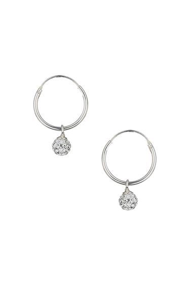 Sterling Silver Rhinestone Drop Hoops - predominant colour: silver; occasions: evening, occasion; style: hoop; length: mid; size: standard; material: chain/metal; fastening: pierced; finish: metallic; embellishment: crystals/glass; season: a/w 2016; wardrobe: event
