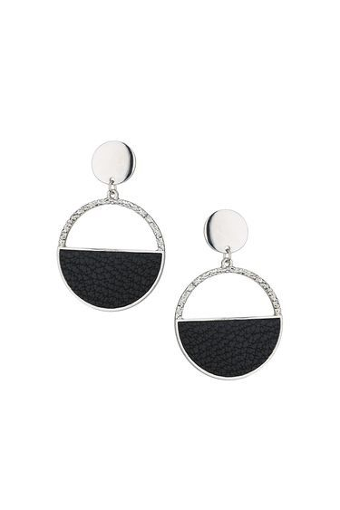Stylish Textured Drop Earrings - secondary colour: silver; predominant colour: black; occasions: evening, occasion; style: drop; length: long; size: standard; material: chain/metal; fastening: pierced; finish: metallic; embellishment: crystals/glass; season: a/w 2016; wardrobe: event