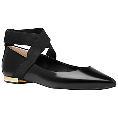 Cencae Cross Strap Ballet Pumps - predominant colour: black; occasions: casual, creative work; material: leather; heel height: flat; ankle detail: ankle strap; toe: pointed toe; style: ballerinas / pumps; finish: patent; pattern: plain; wardrobe: basic; season: a/w 2016