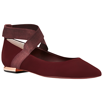 Cencae Cross Strap Ballet Pumps - predominant colour: burgundy; occasions: casual, creative work; material: suede; heel height: flat; ankle detail: ankle strap; toe: pointed toe; style: ballerinas / pumps; finish: plain; pattern: plain; season: a/w 2016; wardrobe: highlight