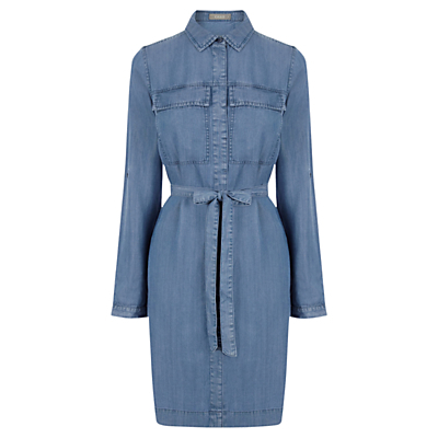 Belinda Shirt Dress, Denim - style: shirt; neckline: shirt collar/peter pan/zip with opening; fit: fitted at waist; pattern: plain; waist detail: belted waist/tie at waist/drawstring; predominant colour: denim; occasions: casual, creative work; length: just above the knee; fibres: viscose/rayon - 100%; sleeve length: long sleeve; sleeve style: standard; texture group: denim; bust detail: bulky details at bust; pattern type: fabric; season: a/w 2016; wardrobe: highlight