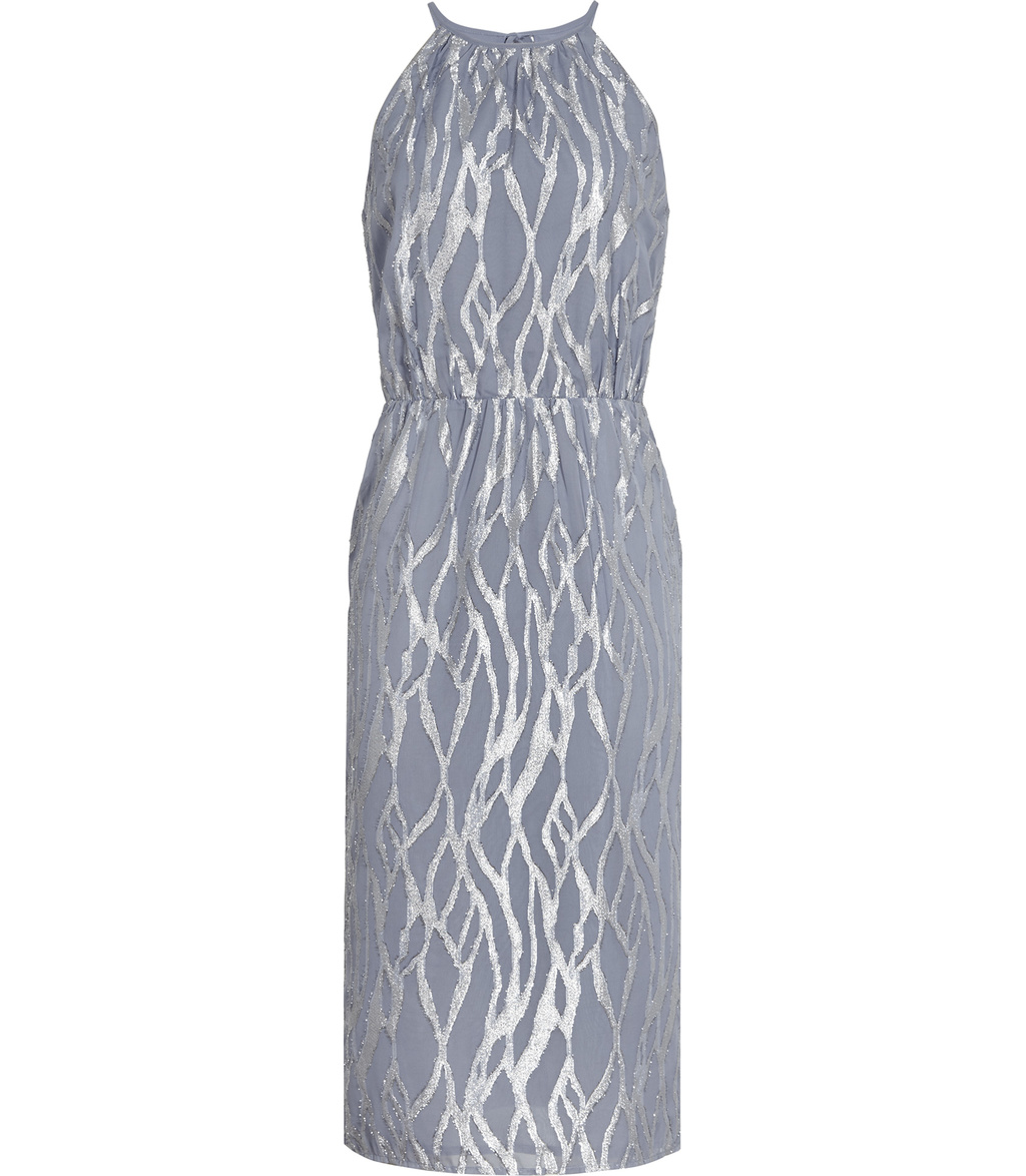 Cass Womens Metallic Burnout Dress In Grey - style: shift; length: below the knee; fit: tailored/fitted; sleeve style: sleeveless; waist detail: fitted waist; hip detail: draws attention to hips; secondary colour: silver; predominant colour: mid grey; occasions: evening, occasion; fibres: polyester/polyamide - mix; sleeve length: sleeveless; pattern type: fabric; pattern size: standard; pattern: patterned/print; texture group: brocade/jacquard; neckline: high halter neck; season: a/w 2016; wardrobe: event