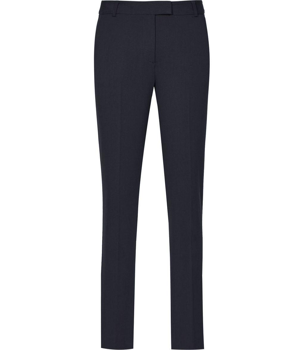 Joanne Womens Cropped Tailored Trousers In Blue - length: standard; pattern: plain; waist: mid/regular rise; predominant colour: navy; occasions: work; fibres: polyester/polyamide - stretch; fit: slim leg; pattern type: fabric; texture group: woven light midweight; style: standard; wardrobe: basic; season: a/w 2016